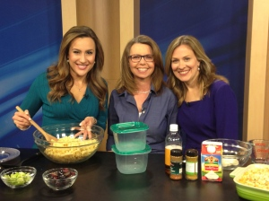 Karina Nova, Robin Davis, and Erin Carroll show off their curried turkey pasta salad.